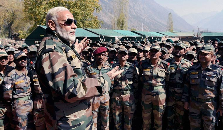 Indian Prime Minister Narendra Modi spending time with Indian Army