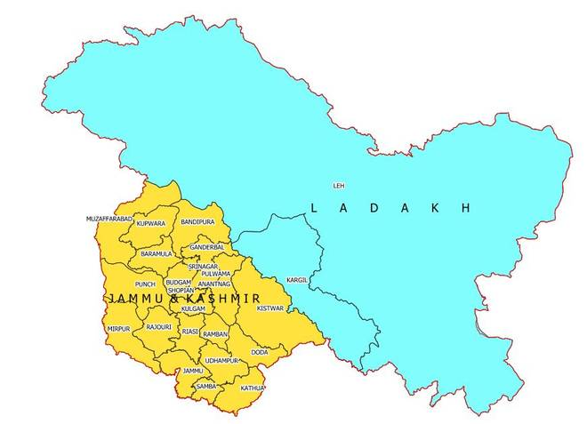 Map of Jammu & Kashmir and Ladakh