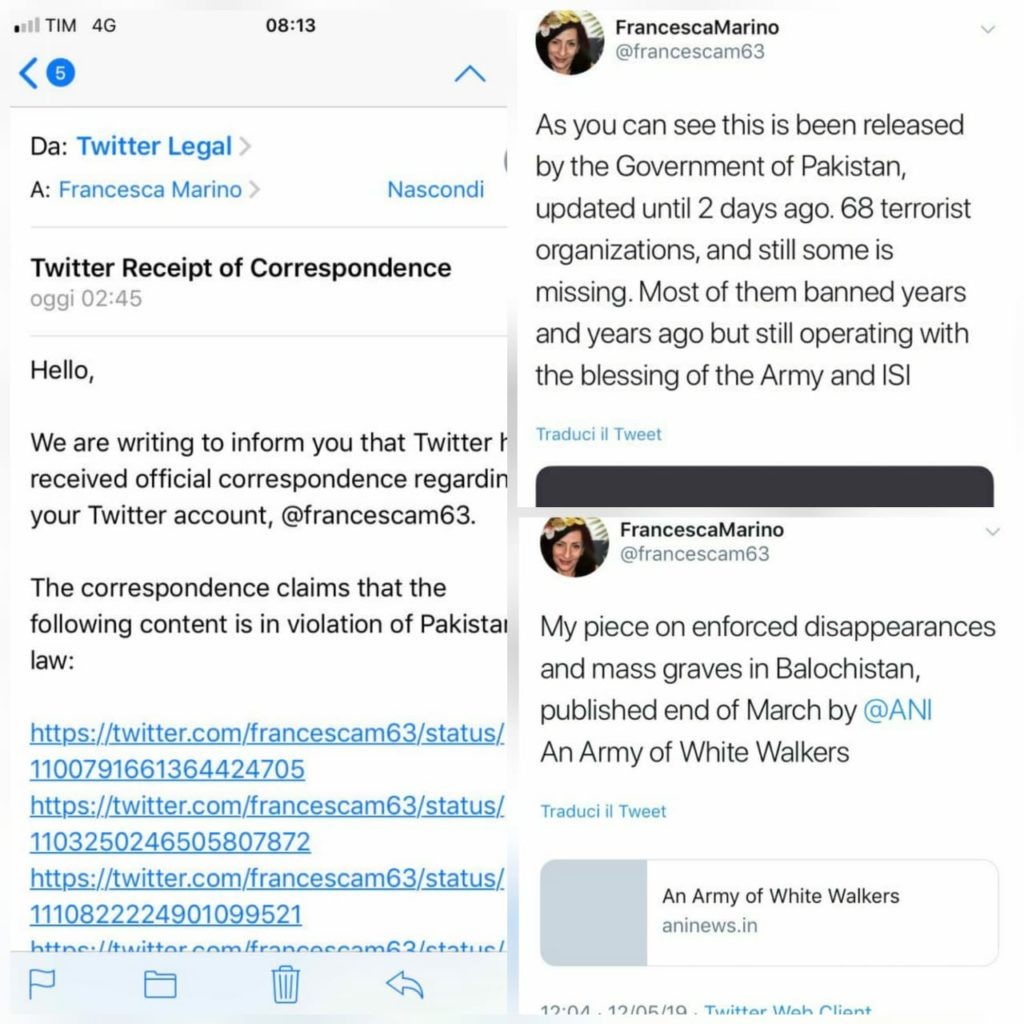 Twitter Legal Correspondence Received by French Journalist Francesca Marino and her tweets allegedly violating Pakistan Law