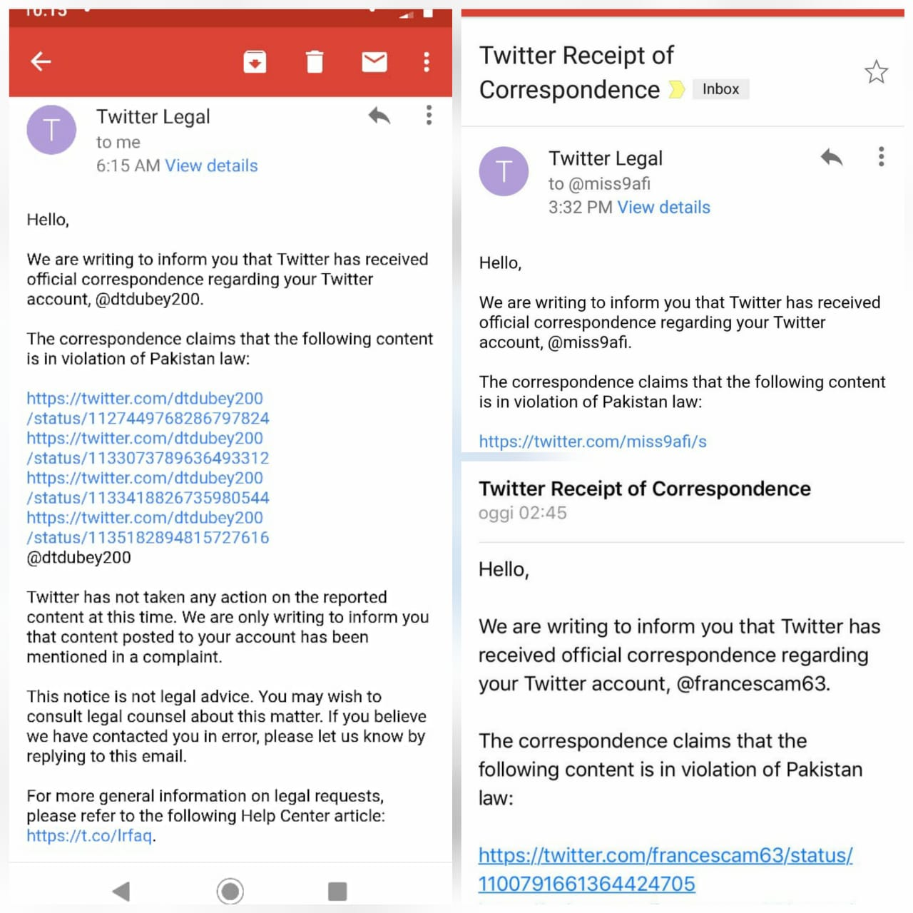 Twitter legal notices to different Twitter users that allegedly violated Pakistan Law