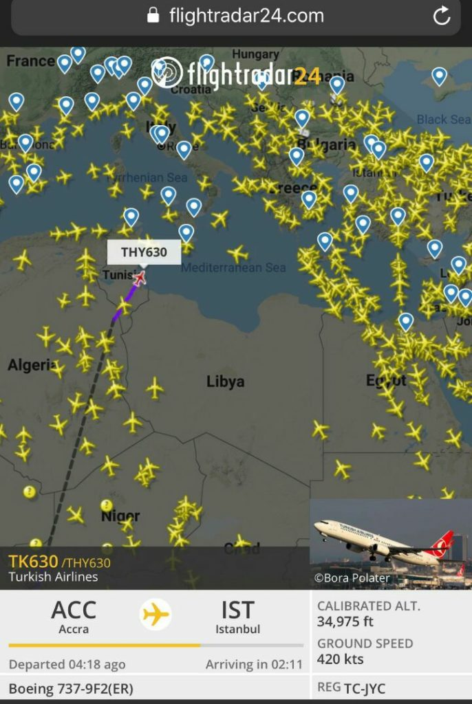 Flight Data of Libya sky after Haftar blame Turkey and made declaration