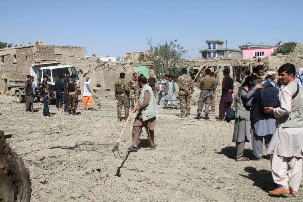 Picture of car bomb blast site in Ghazni Province