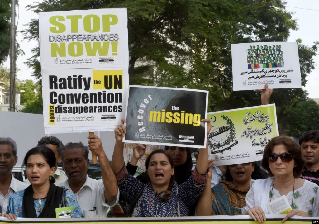 People protesting against Enforced Disappearances by Pakistan Army in violation of Human Rights