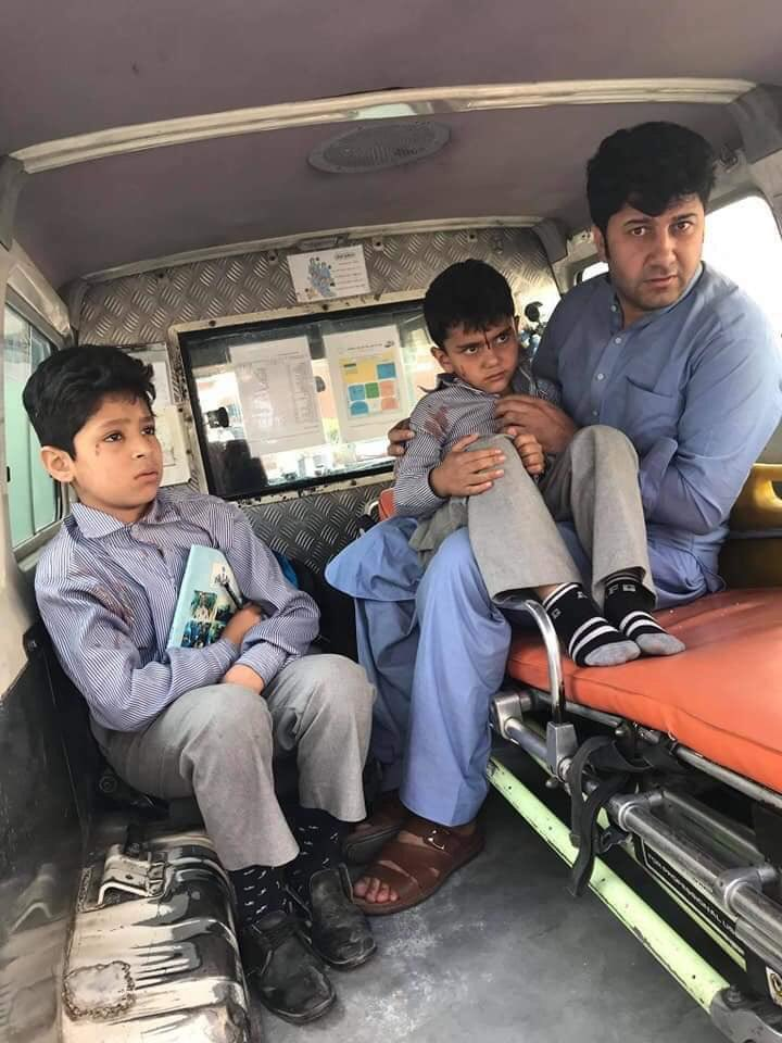 Injured school children from Taliban car bomb blast in Kabul Afghanistan taken to the hospital