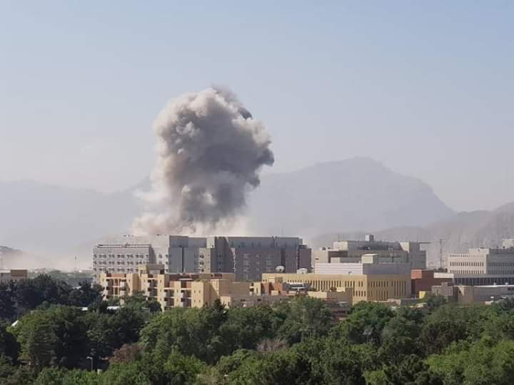 Smoke from the car bomb blast in Kabul Afghanistan can be seen from a distance