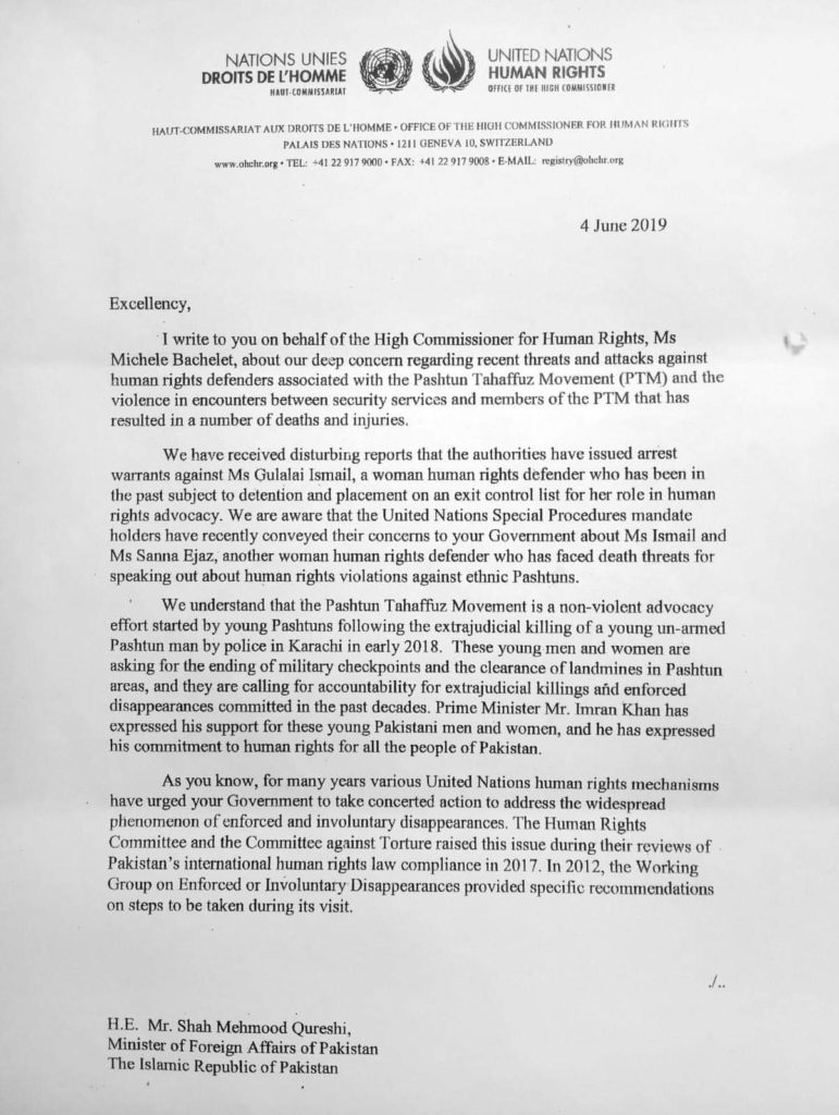 Letter Written by Office of Commissioner of Human Rights, Geneva to Pakistan Government