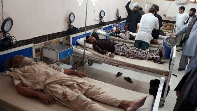 Picture of  injured people brought to hospital after explosion in the Mosque