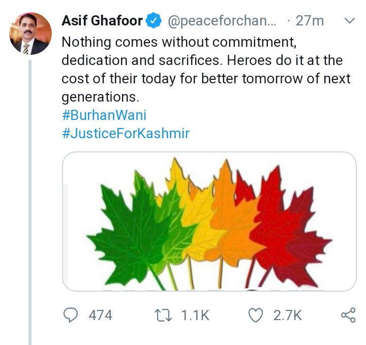 Pakistan DG ISPR Asif Gafoor glorifying a Terrorist of Globally Designated Terrorist organization