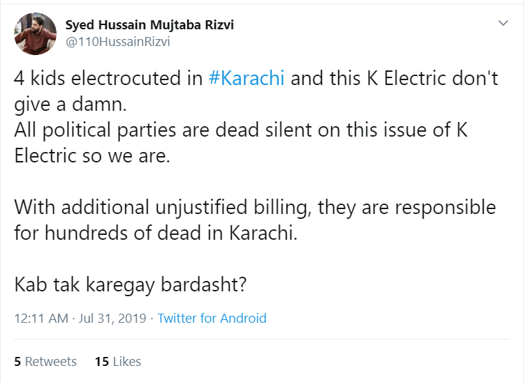 A tweet on Twitter telling hundred's of dead in Karachi alone due to electrocutio