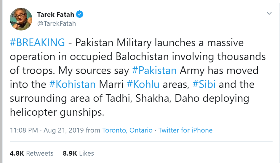 Noted Journalist Tarek Fatah shared information regarding Pakistan Army operation