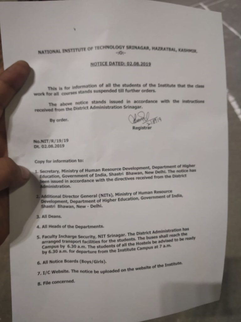 Notice to all students of National Institute of Technology in Srinagar. Classes stand suspended till further orders.
