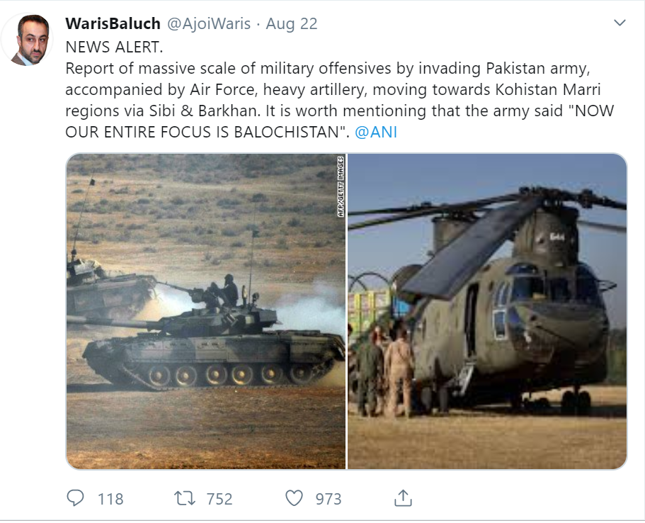 Tweet from Waris Baloch as Pakistan Army prepares for committing Genocide in Balochistan