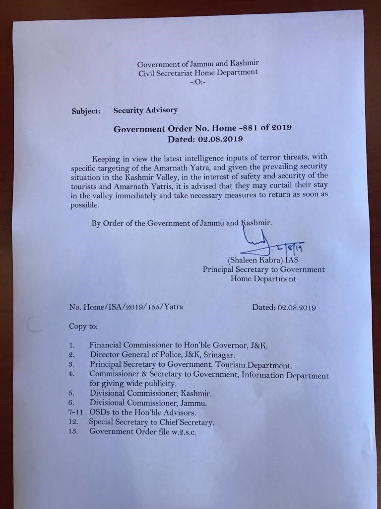 Copy of Government Advisory to Amarnath Yatris to curtail their stay in the Kashmir Valley