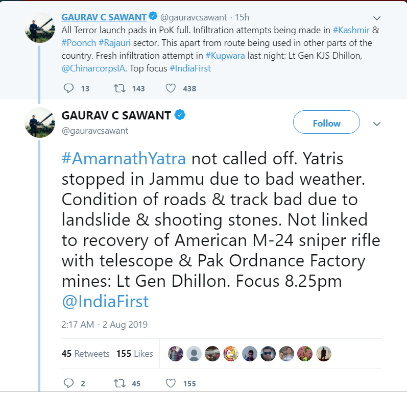 Tweet from Gaurav Sawant that conflicts wth what was said in the press conference.