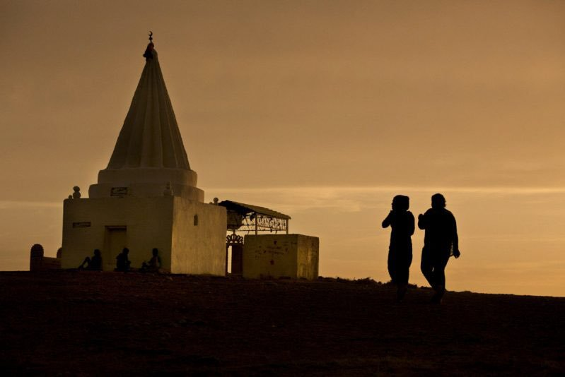 A Yazidi place of worship where Yazidis pray