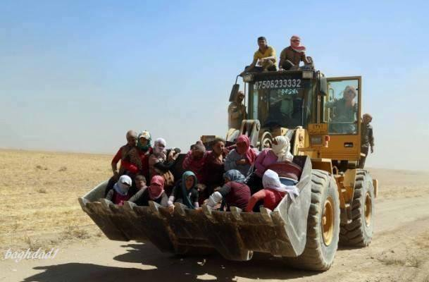 Yazidis being transported to different places
