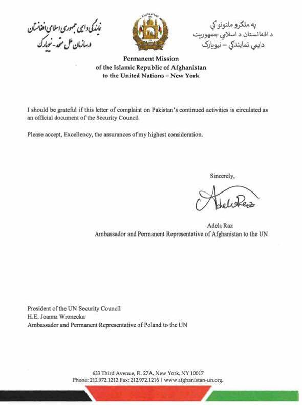 The letter written by Afghan envoy to United Nation - Page 2