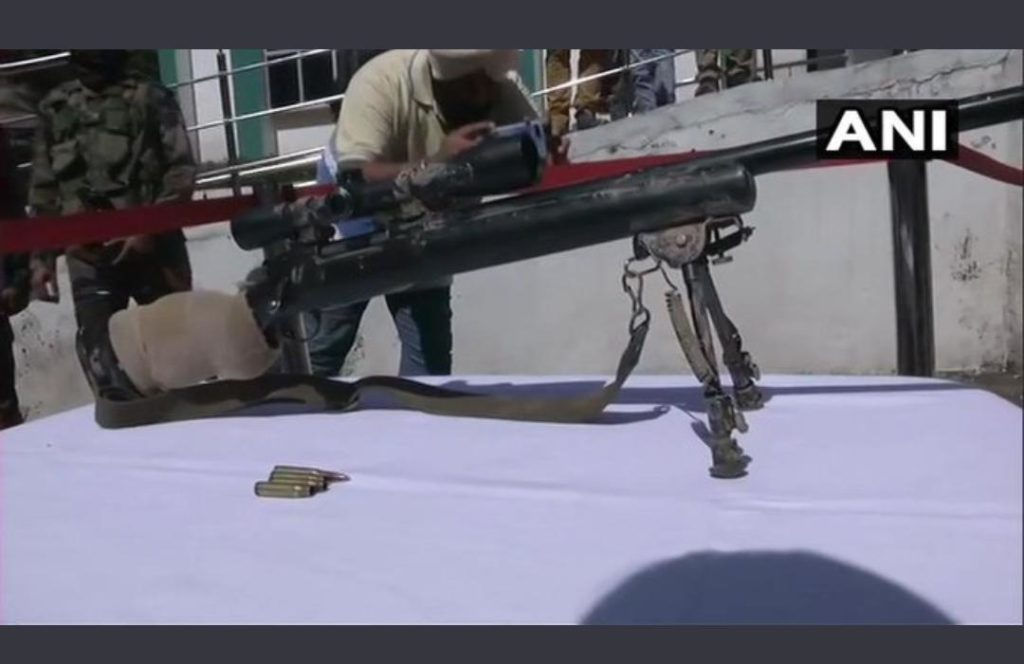 M-24 sniper rifle recovered from a terrorist hideout in the area where the Annual Amarnath Yatra (Pilgrimage for Hindus) happens