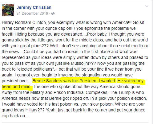 "Facebook post of Jeremy Christian who killed 2 people in Portland, Oregon in 2017. MSM referred him as ""far right"""