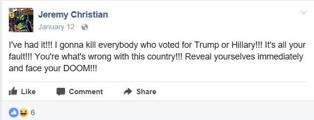 "Another Facebook post of Jeremy Christian who killed 2 people in Portland, Oregon in 2017. MSM referred him as ""far right"""
