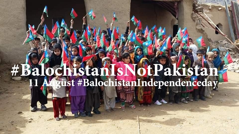Children waiving Balochistan Flag on Balochistan Independence Day