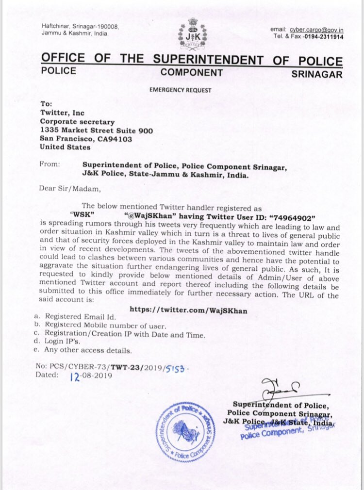 Complaint Made to Twitter by CRPF India against WajSKhan for spreading rumors through his tweets