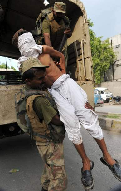Pakistan Army committing Genocide - Baloch People are abducted, Blind folded and taken to unknown destination.