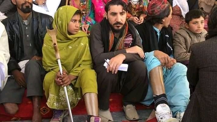 Picture of Women and Children who lost limbs because of Pakistani Army installing Landmines in Civilian areas
