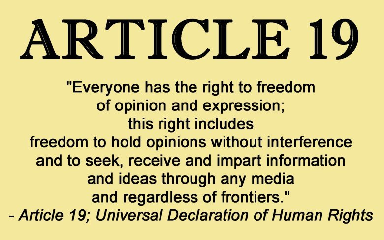 Article 19; Universal Declaration of Human Rights