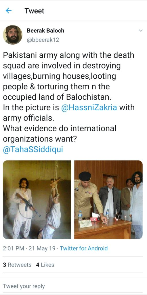 A Tweet showing a dreaded Terrorist Hassni Zakria, a member of Pakistani Army created Death squad to kill Baloch People and burn their villages and rape their women, seen with Pakistan Army officers.