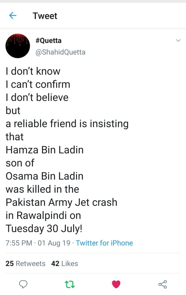 Tweet from our a Twitter user from Afghanistan sharing the information about Osama Bin Laden's Son, Hamza being Killed in the Pakistan Army Jet crash