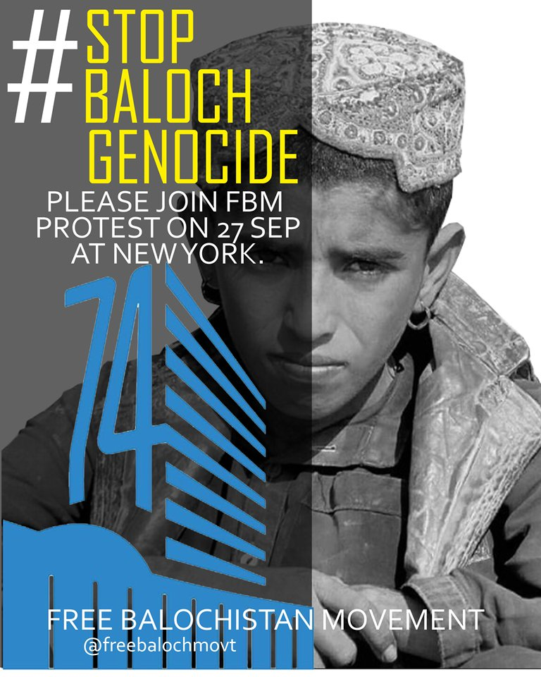 Free Balochistan Movement Demonstrations in New York: Picture of a Baloch boy questioning where is his father who is abducted by Pakistan Army?