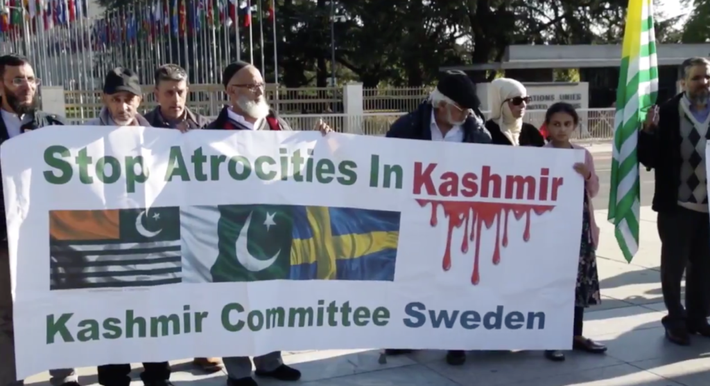 Kashmiris from Pakistan Occupied Kashmir holding demonstrations outside UN Human Rights Conference Geneva