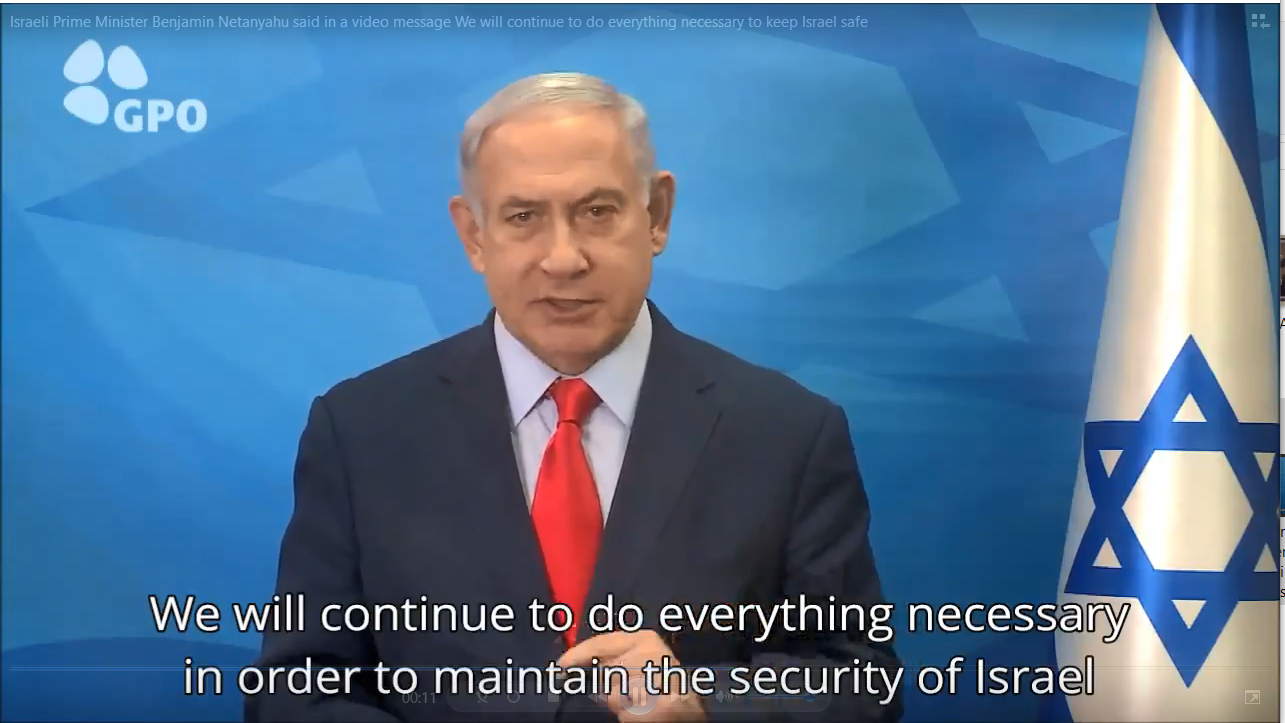 Israeli Prime Minister Benjamin Netanyahu delivering a video message