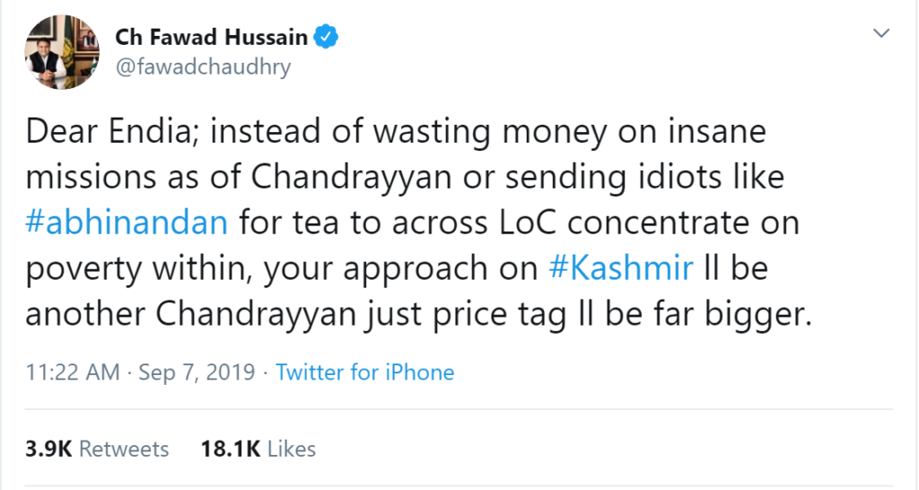 Fawad Chaudhry making retard comments against India on Chandrayaan 2 Moon Mission