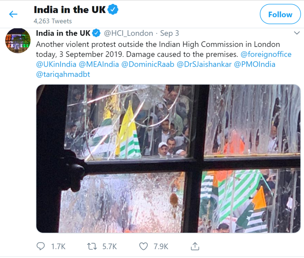 Indian High Commission Tweet after Pakistani Mobs vandalism in Sadiq Khan's Londonistan