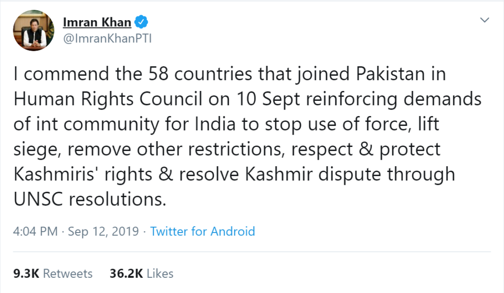 Pakistan Prime Minister Imran Khan talking about 58 countries while UN Human Rights Council has 47 members