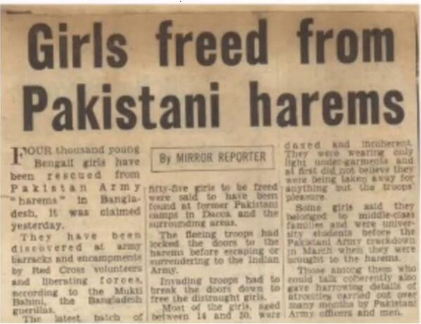 "Rapistan Synonym for Pakistan: 4000 young Bengali girls rescued from Pakistan Army ""Harems"" in Bangladesh"