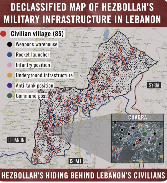Israel Lebanon Conflict - Declassified Map of Hezbollah's Military infrastructure in Lebanon