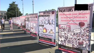 Banners and Hoardings all over Geneva to expose Pashtun Genocide in Pakistan by Pakistan Army
