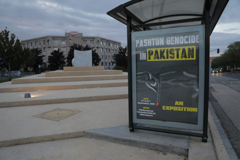 Banners all over Geneva to expose Pashtun Genocide in Pakistan by Pakistan Army