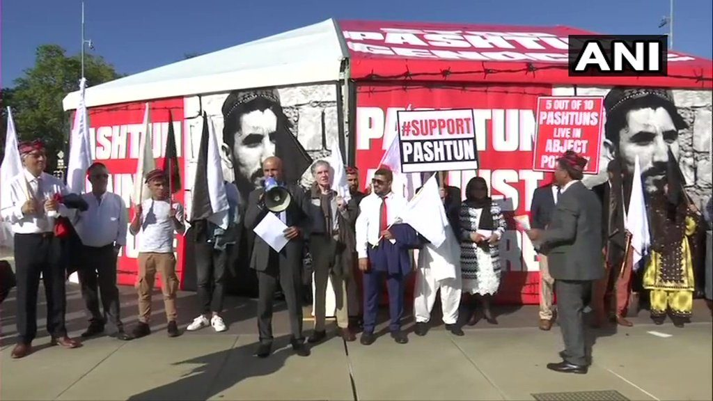 Protests at Geneva against Pakistan Army for committing the Genocide of Pashtun People