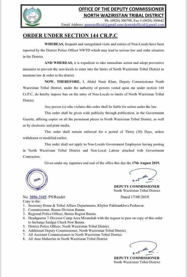 Pakistan Government has already restricted the entry of non-locals in North Waziristan Tribal areas since last one month.