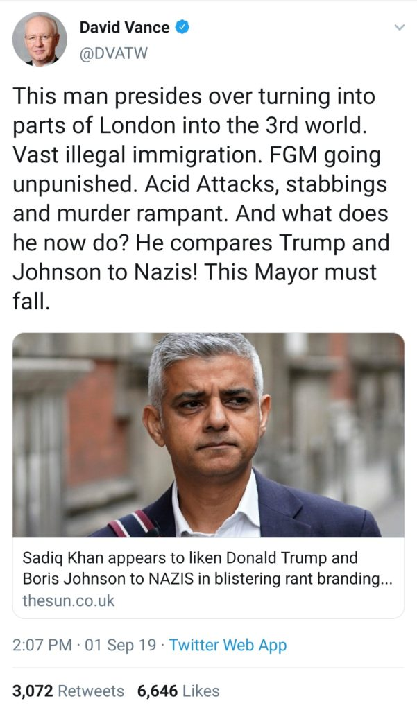 David Vince Tweeted about Sadiq Khan's Londonistan