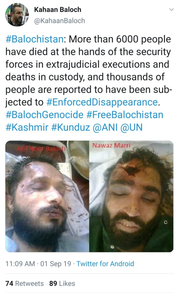 Tweet by Kahaan Baloch showing Barbarism of  Pakistani Army continues
