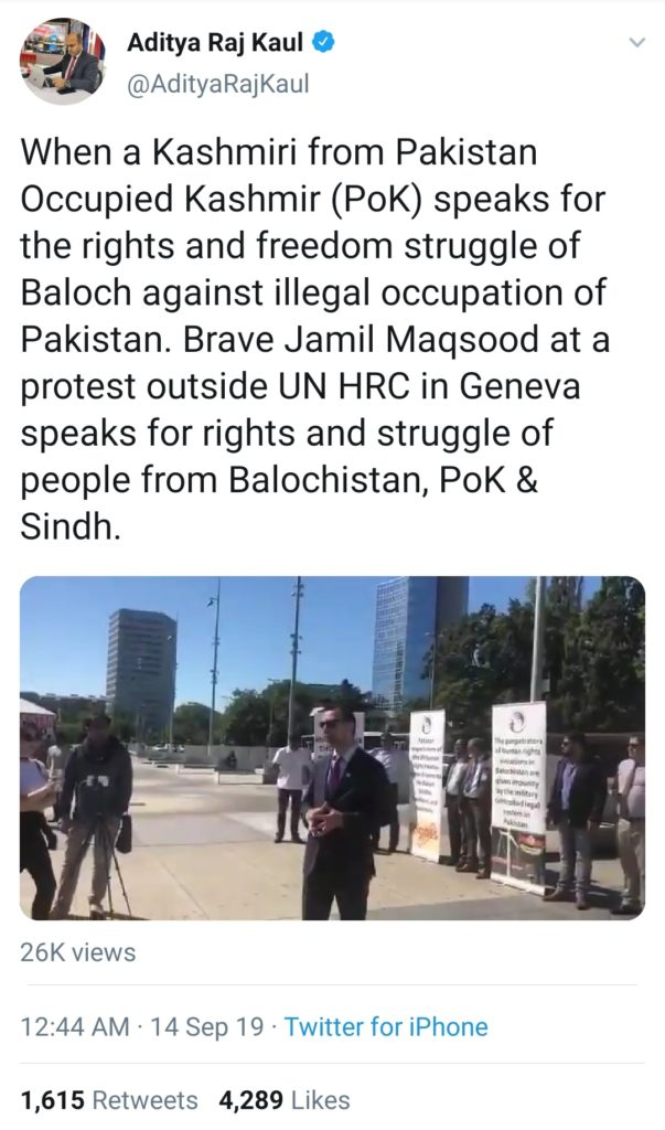 Aditya Raj Kaul, an Indian Journalist tweeted about Jamil Maqsood at a protest outside UN Human Rights Conference in Geneva