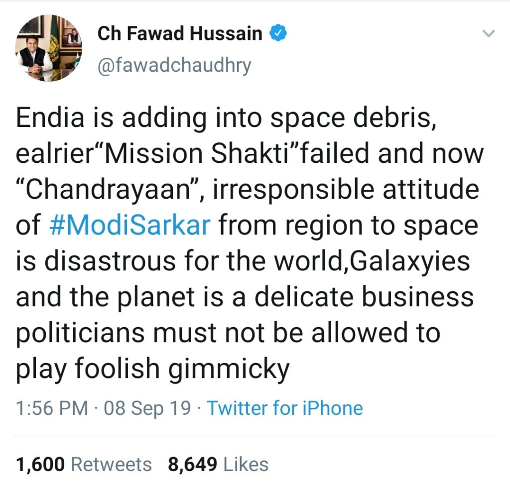 Fawad Chaudhry making vile comments against Indian Prime Minister Narendra Modi