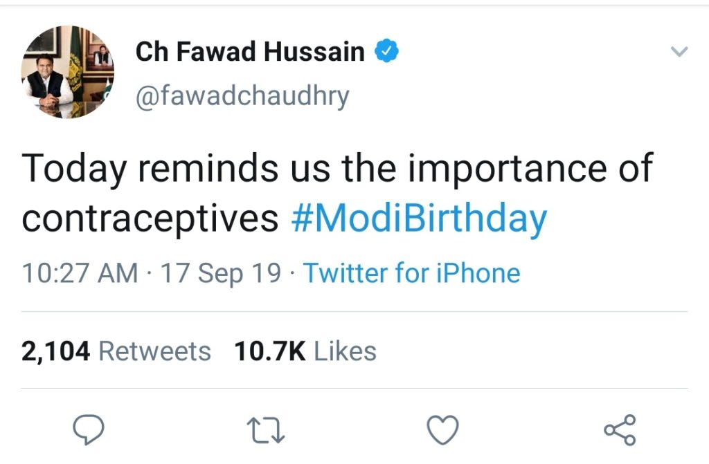 Retard comment from Fawad Chaudhry on Birthday of Indian  Prime Minister Narendra Modi