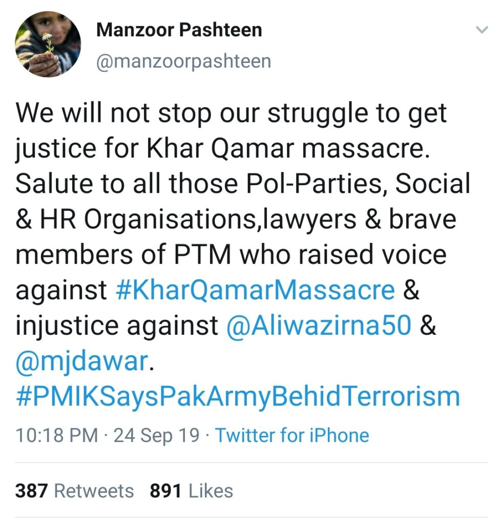 Manzoor Pashteen exposing Pakistan Hypocrisy, exposing the atrocities on Pashtun Muslims during Khar Qamar Massacre by Pakistan Army
