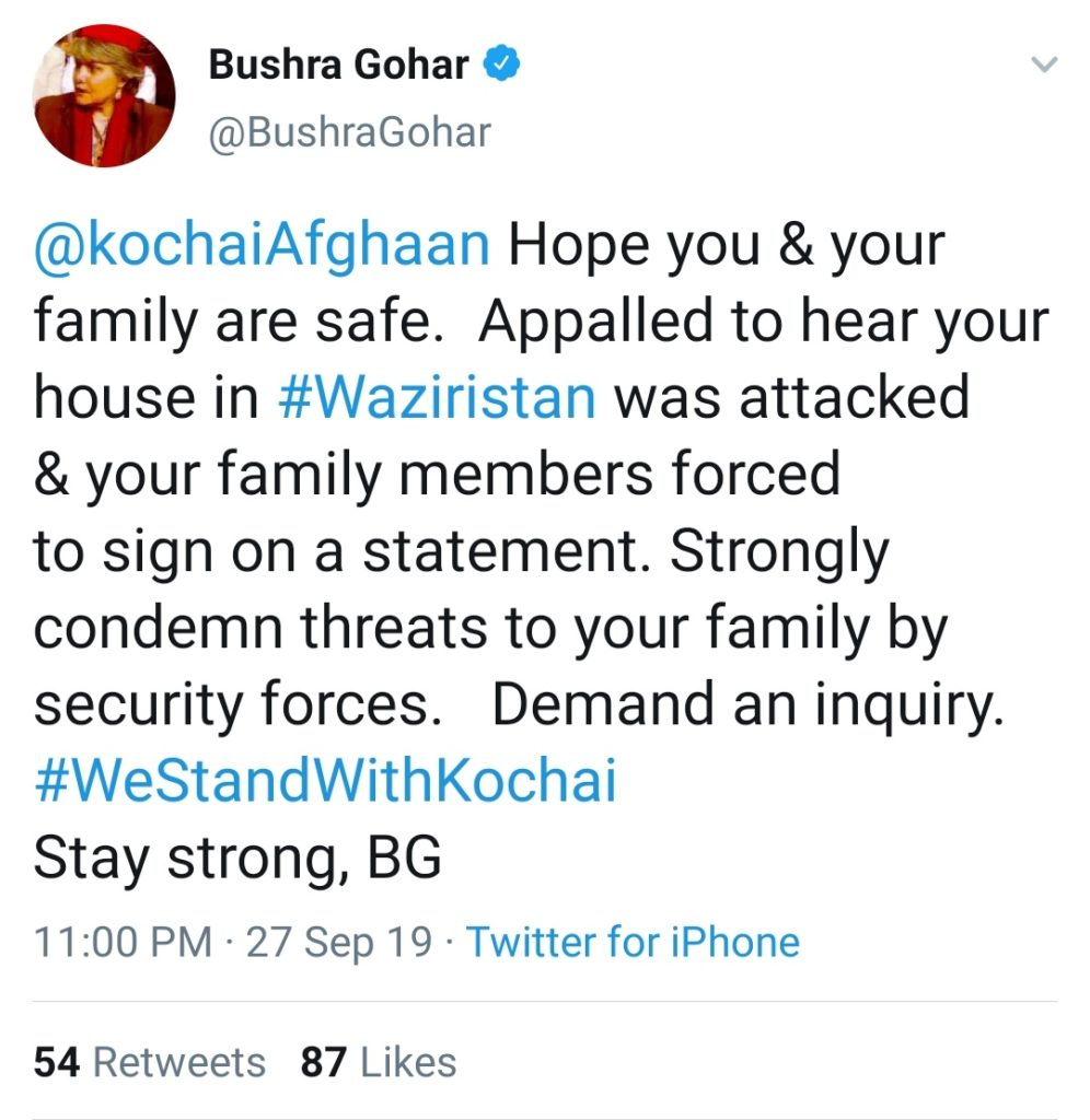 Bushra Gohar appalled to hear the news of family of Human Rights Activist, a Pashtun Muslim Kochai Lewanai attacked by Pakistan Army proxies